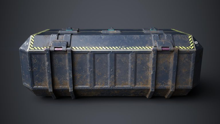 3D Sci fi crate or container model for video games. This is a side view rendering of a game object in form of a sci fi crate. It shows a beaten and dusty box with a biometric opening system. It has 1098 triangles and a PBR texture and it is created by Thom Hujanen a university educated video game designer and artist.