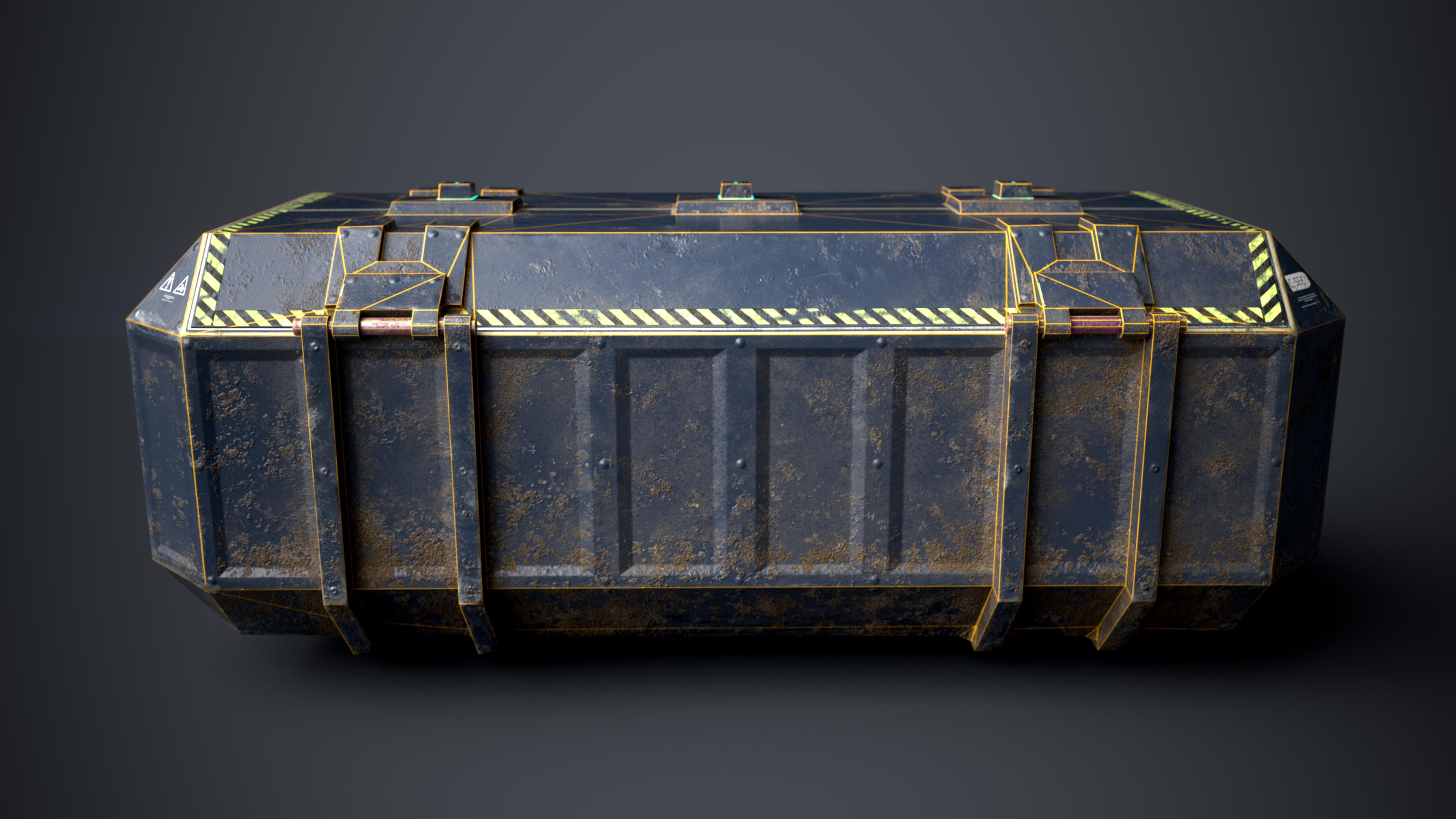 This is a side view of a 3D sci fi crate model a video game asset for futuristic game worlds. The image shows the container's polygon flow or wireframe. The 3D game object has 1098 triangles and is created by Thom Hujanen a university educated video game designer and 3D artist.