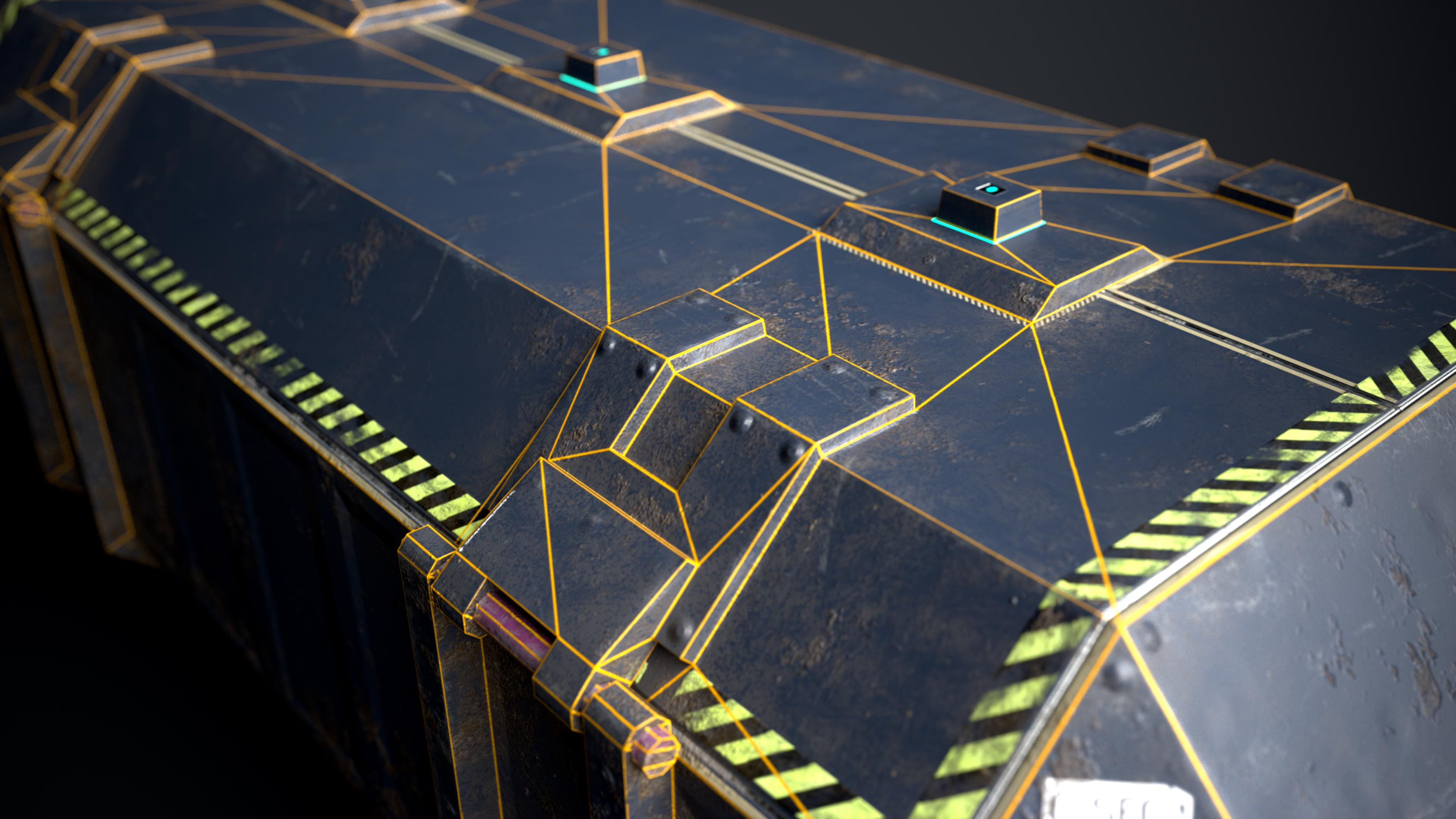 This is a blue 3D game sci fi crate or container that is sturdy but beaten and dirty. The rendering shows a close up of the sci fi box with its wireframe, polyflow or polygon flow visible.