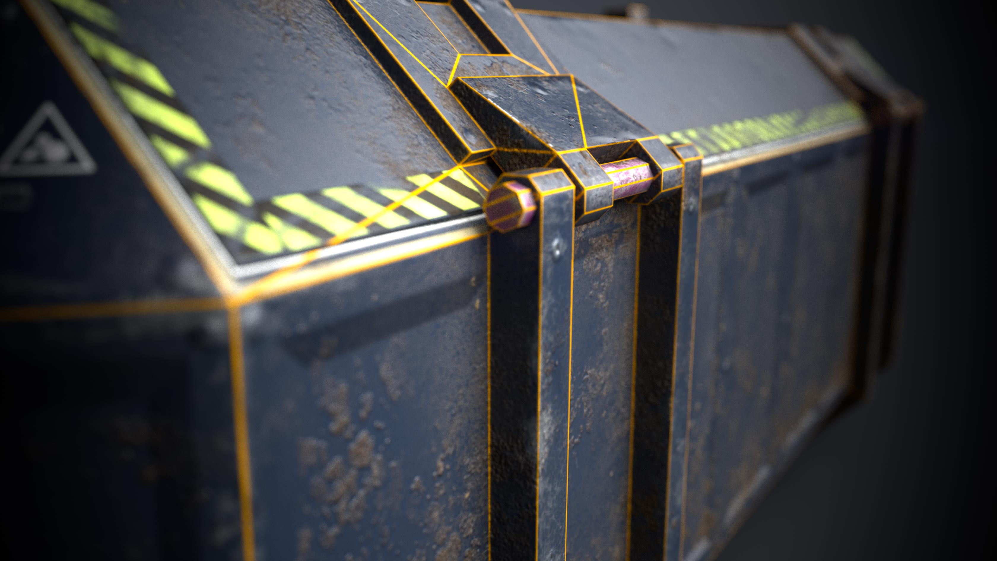 This is a close up rendering of the side of a sturdy but beaten blue and dusty 3D Sci fi crate or container with biometric technology. It is a 3D game object with 1098 triangles and a PBR texture. The rendering shows a close up of the wireframe or polygon flow of the hinges that opens the 3D sci fi crate. It is created by Thom Hujanen a university educated video game designer and 3D artist.