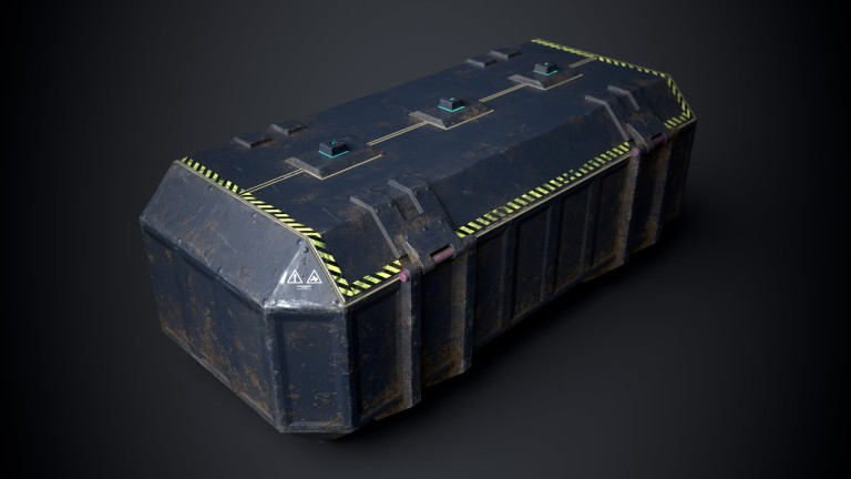 This is a sturdy but beaten blue and dirty 3D Sci fi crate or container with biometric technology. It is a 3D game model with 1098 triangles and a PBR texture. This is a top corner view of the 3D sci fi crate that shows its opening mechanism and warning signs. It is created by Thom Hujanen who is a university educated game designer and 3D artist.