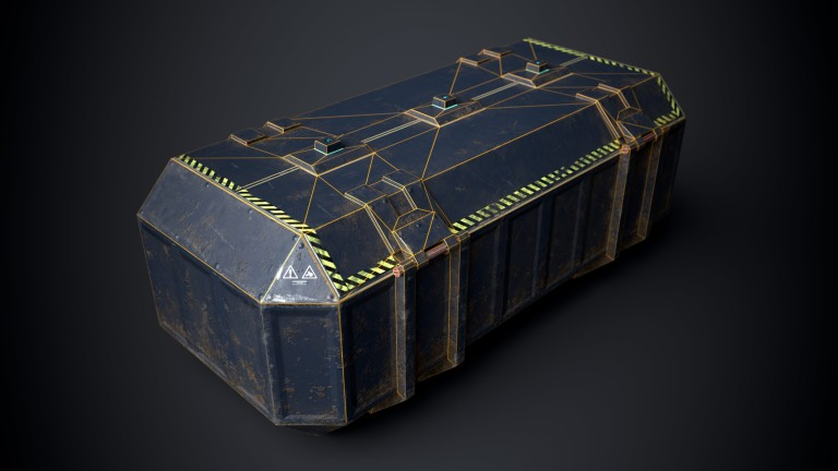 This is a sturdy but beaten blue and dirty 3D Sci fi crate or container with biometric technology. It is a 3D game model with 1098 triangles and a PBR texture. This is a top corner view of the 3D sci fi crate that shows its wireframe or polygon flow polyflow. It is created by Thom Hujanen who is a university educated video game designer and 3D artist.