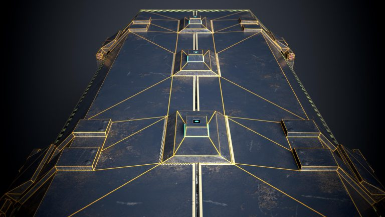 This is a close up rendering of a sturdy but beaten blue and dirty 3D Sci fi crate or container with biometric technology. It is a 3D game model with 1098 triangles and a PBR texture. This render shows the wireframe or polygon flow of the biometric opening system of the 3D sci fi crate. It is created by Thom Hujanen who is a university educated game designer and 3D artist.