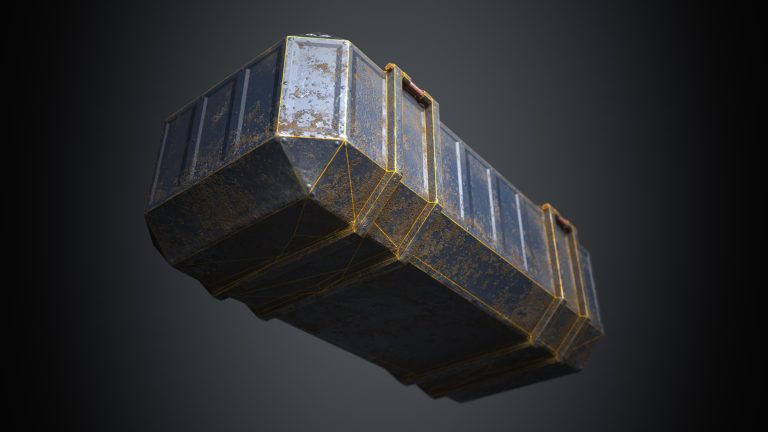 This is a rendering of the bottom of a sturdy but beaten blue and dusty 3D Sci fi crate or container with biometric technology. It is a 3D game object with 1098 triangles and a PBR texture. The rendering shows the wireframe or polygon flow of the bottom of the crate that is covered with mud and dirt on the 3D sci fi crate. It is created by Thom Hujanen a university educated video game designer and 3D artist.