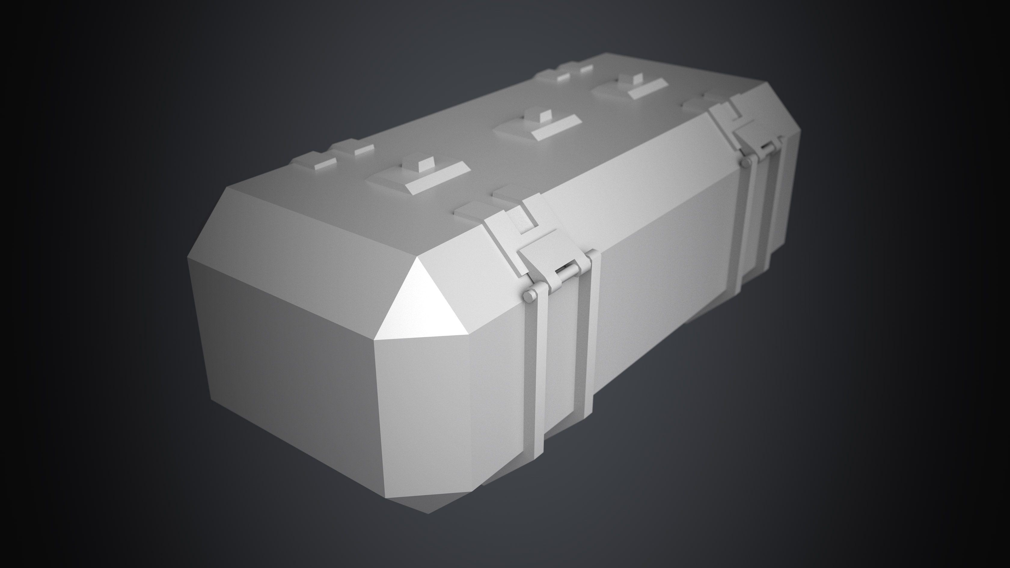 3D Sci fi crate or container with biometrics technology. This is a 3D game model with 1098 triangles without texture. This is a top corner view of the 3D sci fi crate. It is created by Thom Hujanen who is a university educated game designer and 3D artist.